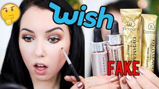 OMG...Full Face of WISH APP MAKEUP!...Fake Dermacol, High-end Knock offs..
