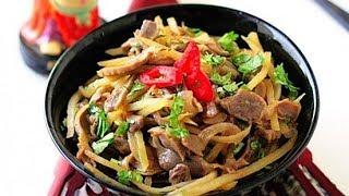 Салат из куриных желудочков по корейски