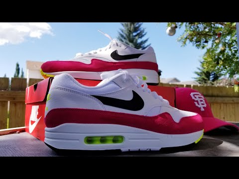 """nike-airmax-1-""""volt-rush-pink""""-unboxing-&-review."""