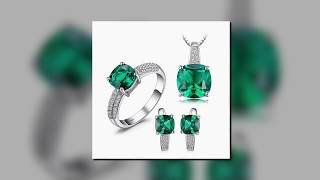 Emerald Ring Pendant Clip Earrings Jewelry Set