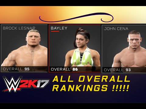 EVERY SUPERSTAR OVERALL RANKING !! - WWE 2K17 FULL ROSTER 1080p*