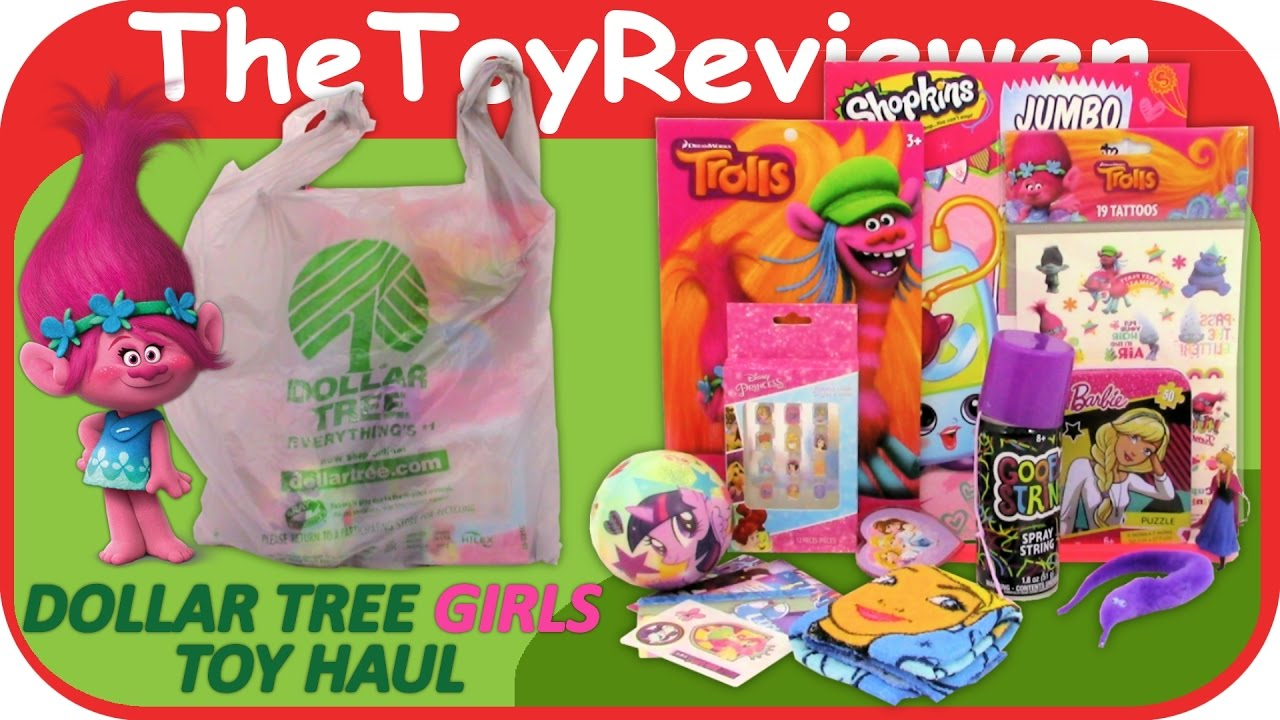 Girls Dollar Tree Haul $1 Toys Trolls Disney Princesses Barbie ...