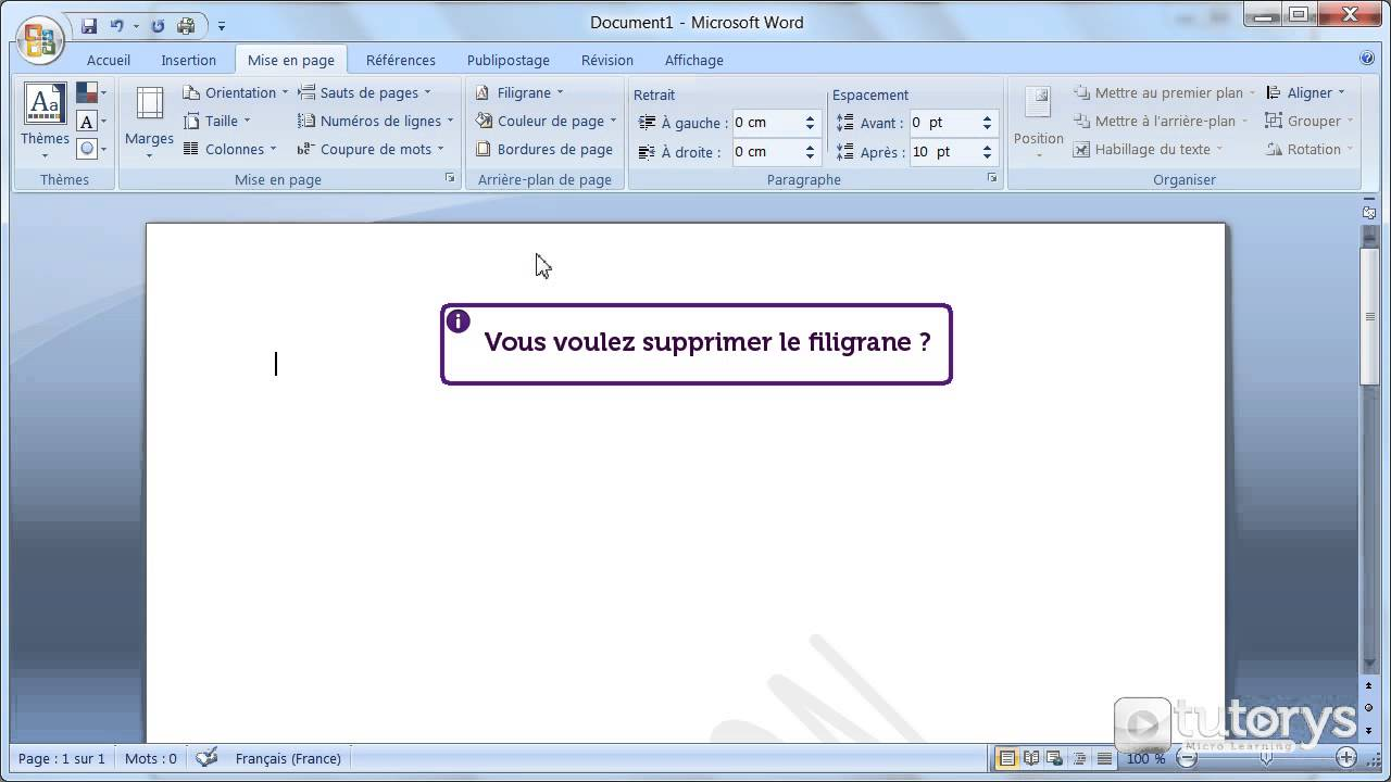 Comment ins rer un filigrane avec word 2007 youtube for Dans word