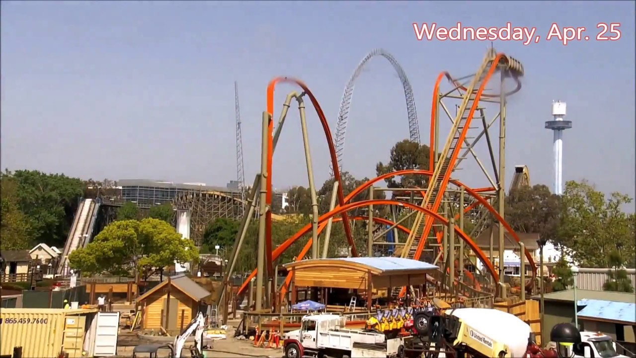 California\'s Great America 2018: RailBlazer Construction Time Lapse ...