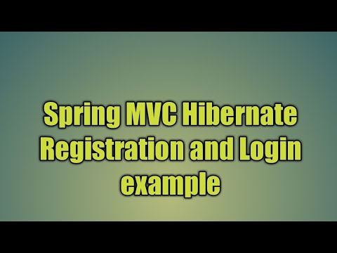24 Spring MVC Hibernate Registration and Login example