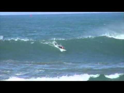12-14-06 Morro Bay, CA Morro Rock Surfers in big winter waves, 4 Sea Otters raft