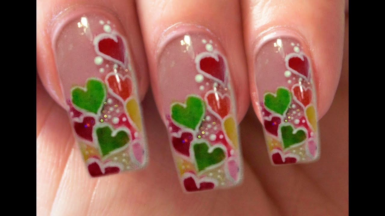 Valentine\'s Day Special 3/10 Acrylic Candy Hearts Nail Art Step by ...