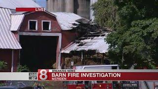 Fire crews battle barn fire in Meriden