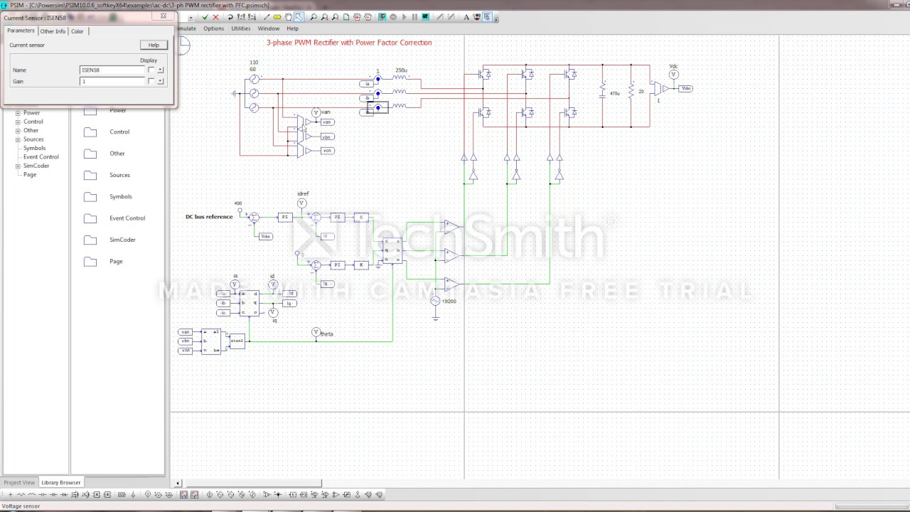 psim 3-phase pwm rectifier with power factor correction