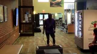 Quick feet ladder drill with tension band to box jumps