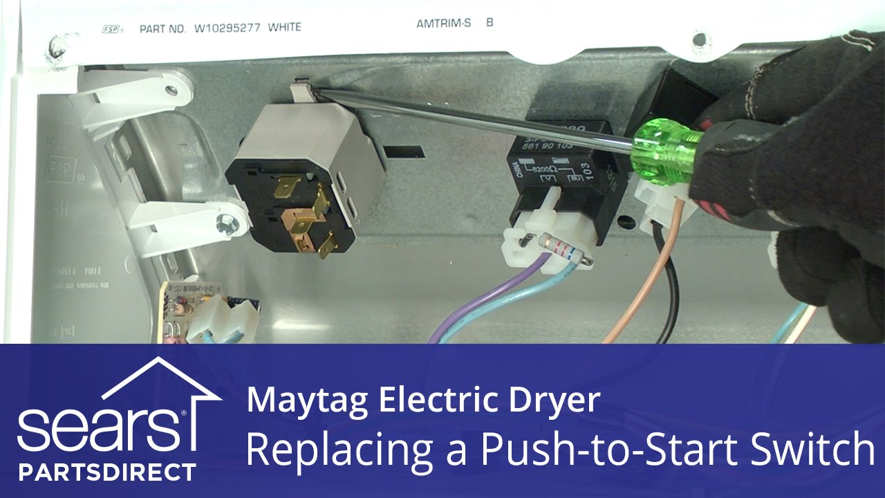 maxresdefault how to replace a maytag electric dryer push to start switch youtube Basic Electrical Wiring Diagrams at edmiracle.co