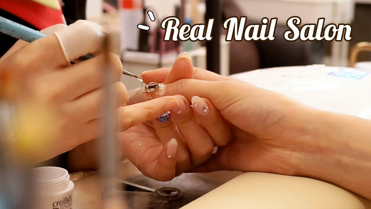 ASMR Getting your nails done at the real nail salon💅 gold foil marble design