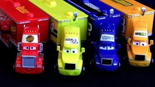 Repeat youtube video 4 Pixar CARS Trucks Haulers Mack Hauler Rust-eze, Mood Springs, Octane Gain, Sidewall ToyCollector