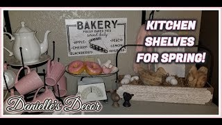 Spring Kitchen Shelves with a Touch of Valentines Day Decor!