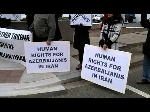 Azerbaijanis Protest Discrimination in Iran in front of Stat