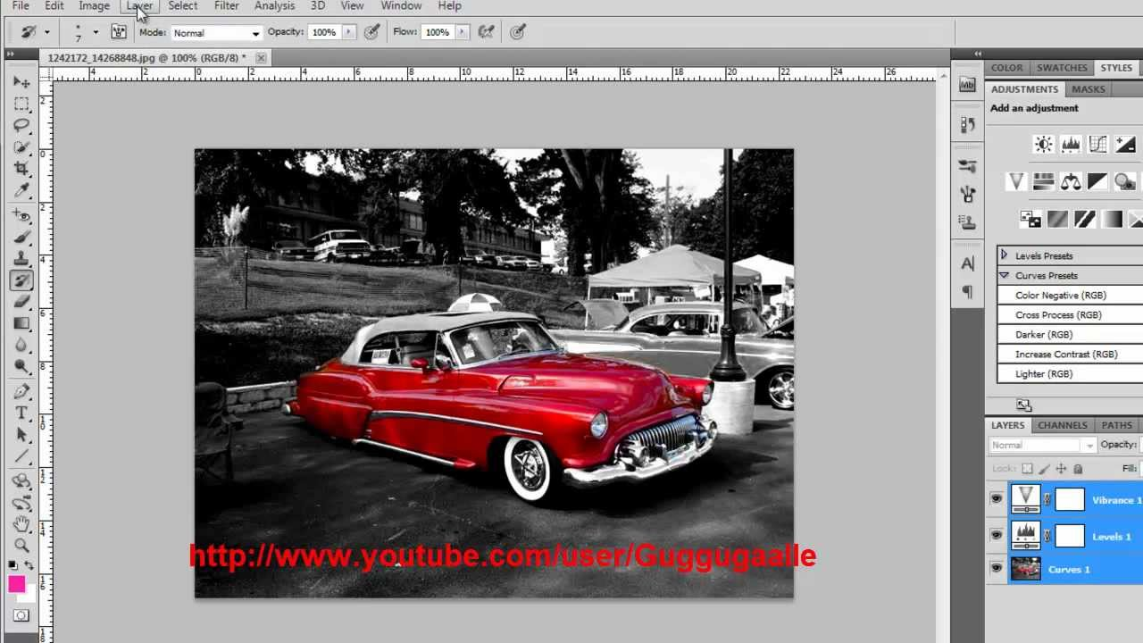 Photoshop tutorial black and white with one colour