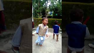 Funny baby playing