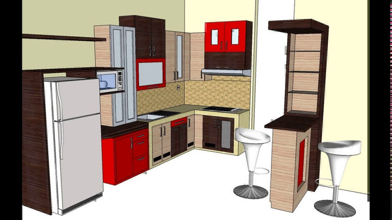 Design kitchen set mini bar - YouTube
