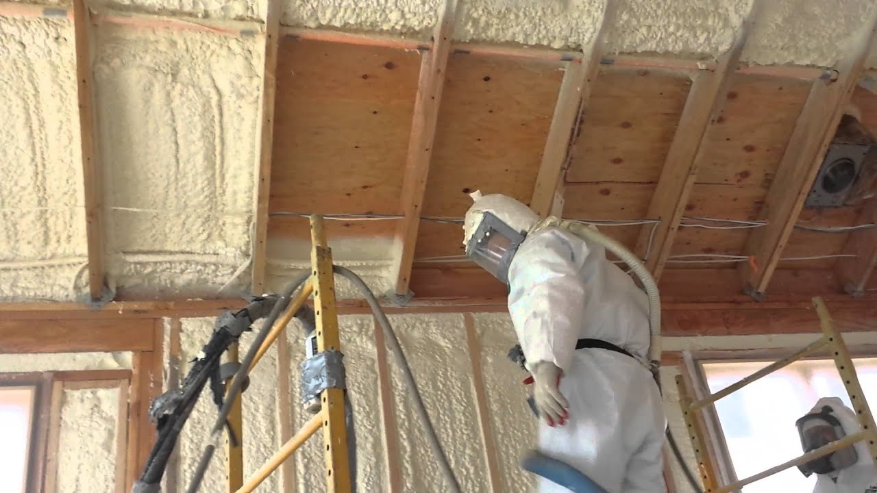 Spray foam full filled walls and ceiling - YouTube