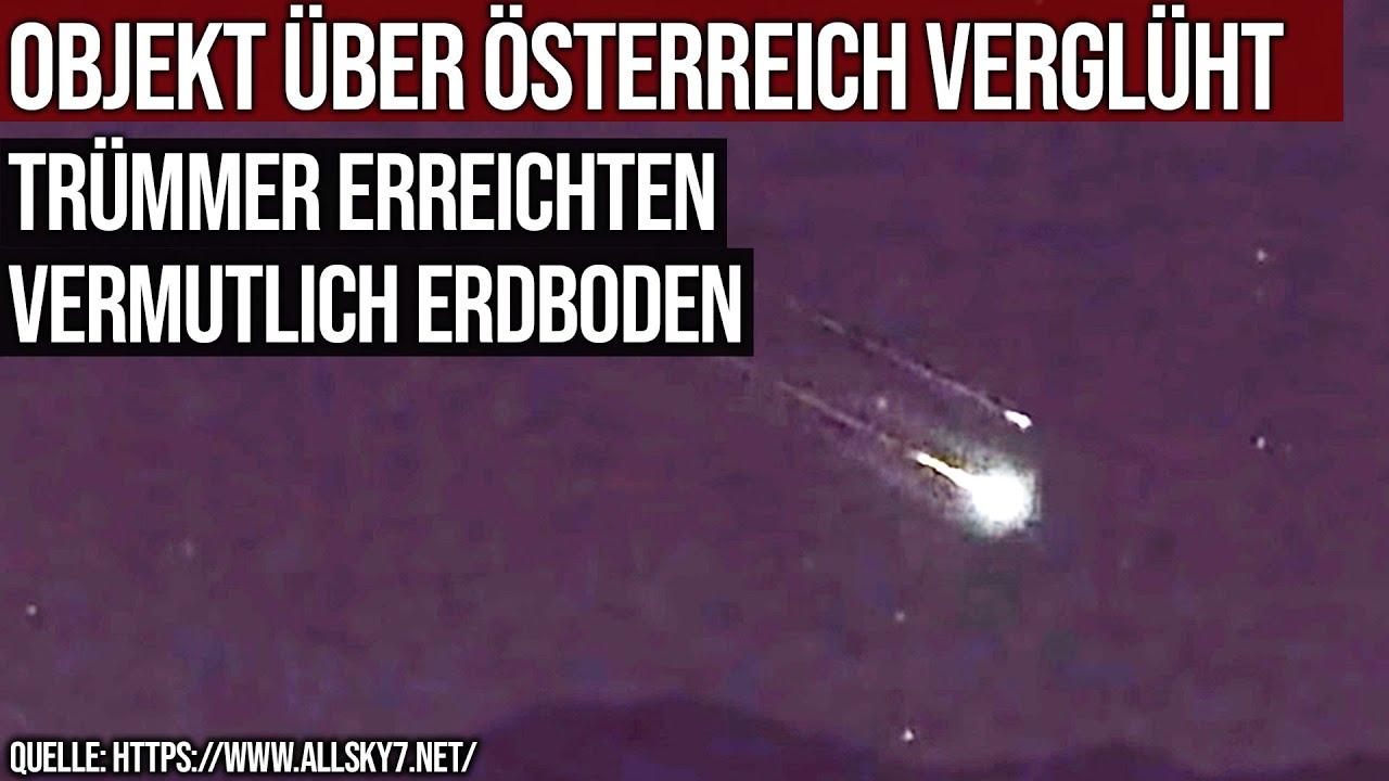Objekt über Österreich verglüht - Trümmer erreichten vermutlich Erdboden