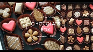 How to Make Simple Valentine Chocolate Box Decorated Cookies
