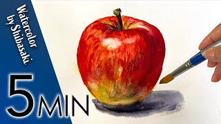 [Eng sub] How t๐ draw an easy and realistic apple. / 5 min Easy Watercolor / Tutorial for beginners