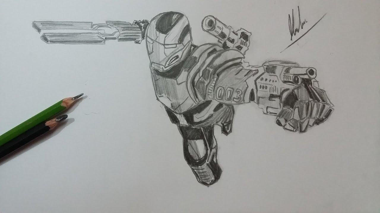 Learn How To Draw Falcon From Captain America Civil War: Dibujo De Maquina De Guerra:Civil War/Drawing War Machine