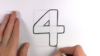 How to Draw a Cartoon Number 4