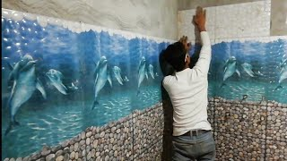 How to install fishing 3d wall tiles design in bathroom