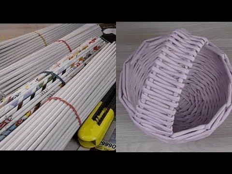 Плетение из газетных трубочек  Подробный мастер - класс для начинающих/newspaper Tube Weaving