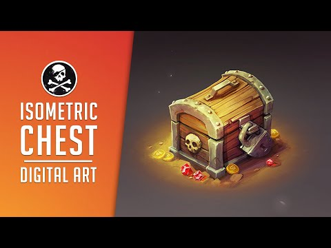 Isometric Chest for Game ● Digital Drawing Process by SephirothArt