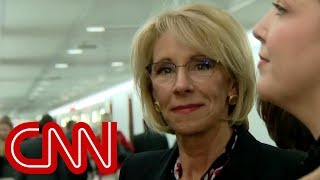 See DeVos\' reaction to CNN\'s questions after testimony