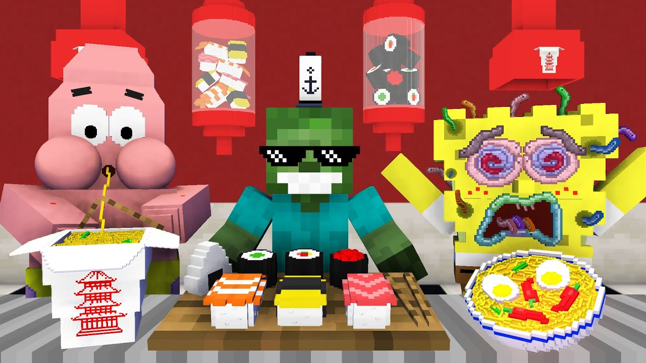 Monster School: WORK AT SPONGEBOB'S CHINESE FOOD PLACE! 🥡 - Minecraft Animation