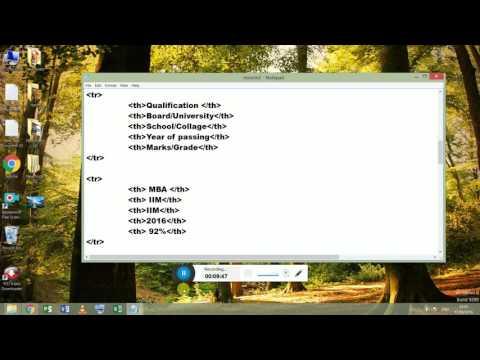 RESUME ON HTML