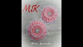 """Интересные резинки """"Зефирки"""" Канзаши МК /  DIY Scrunchy with Kanzashi flowers"""