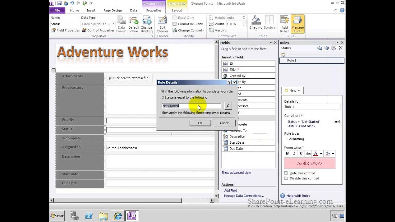 create a sharepoint list form using infopath