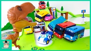 Tayo the little bus slide car toys giant dinosaur alert! Carbot protect Tayo village | MariAndToys