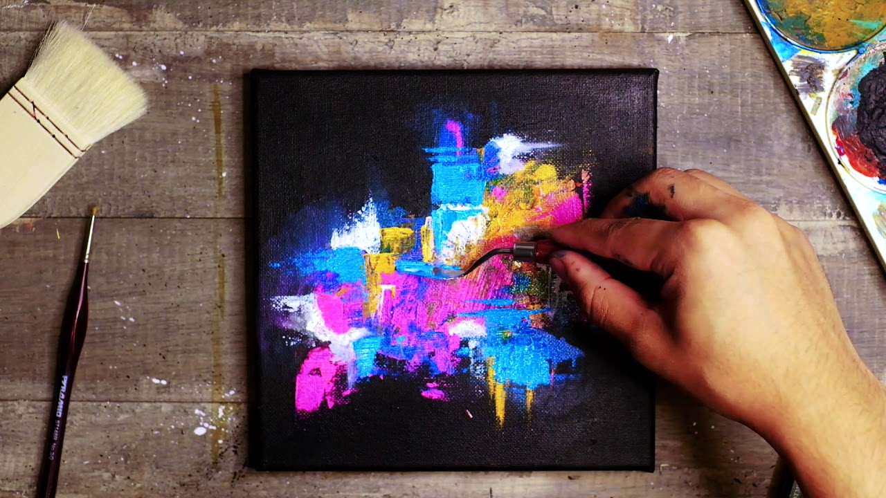 Colorful Acrylic Abstract Painting Black Background Youtube