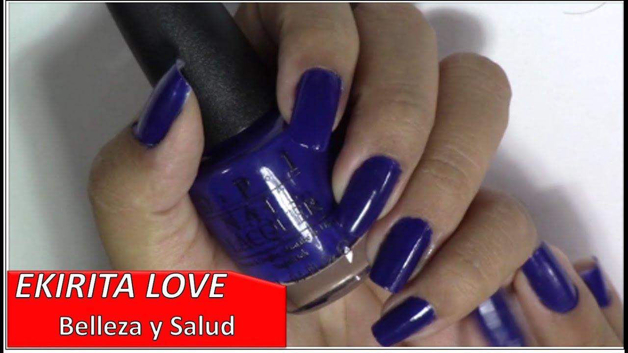 esmaltes OPI, color azul electrico, demostracion, Ekirita Love - YouTube