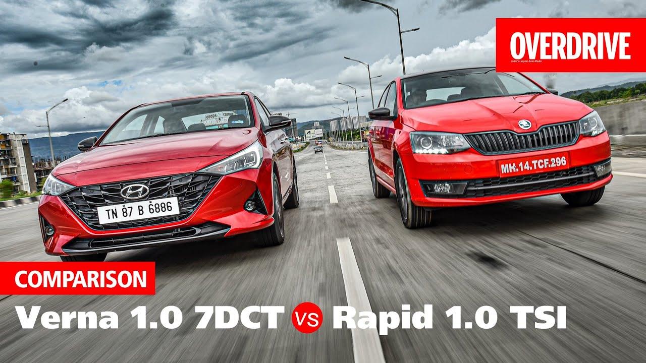2020 Hyundai Verna 1.0 turbo vs Skoda Rapid 1.0 TSI   Comparison   OVERDRIVE