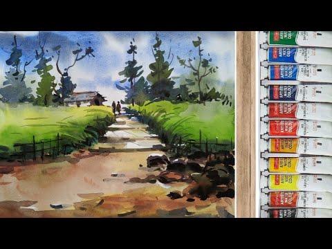 Watercolour landscape painting/ watercolor scenery painting/ easy watercolor painting step by step