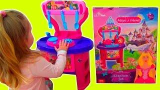 Игрушечная кухня принцессы с посудкой. Распаковка кухни для девочек(Открываем большую коробку с кухней, собираем игрушечную кухню и играем с новой игрушечной кухней. В наборе..., 2016-10-24T09:30:46.000Z)