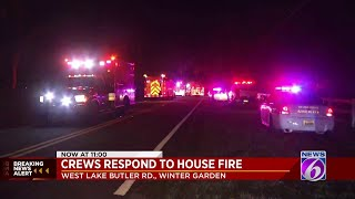 Crews battle fire in Winter Garden