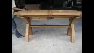 1.8 - 2.3 - 2.8m Double Butterfly Extending Country Oak X Leg Oval Ended Table