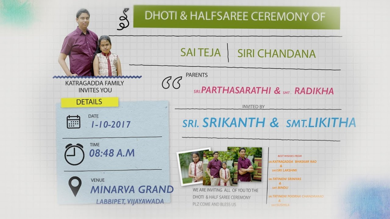 Katragadda S Dhoti Saree Ceremony Invitation