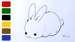 bunny drawing rabbit simple draw drawings paintingvalley very