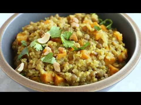How To make One Pot Coconut Curry with Sweet Potatoes, Lentils and Quinoa