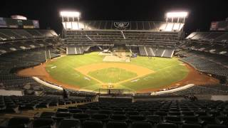 O co Coliseum Conversion Time Lapse Video Athletics to Raiders 10 5 13   10 6 13 Oakland, CA
