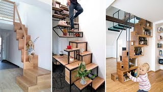 Top Beautiful Staircase Design Ideas For Small Space | Space Saving Staircase