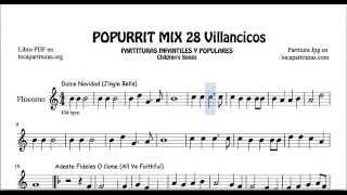 28 Popurrí Mix Villancicos Partituras de Fliscorno Dulce Navidad Adeste Fideles Los Campanilleros